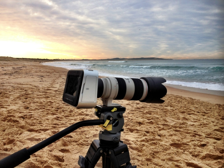 Black Magic Cinema Camera on the beach