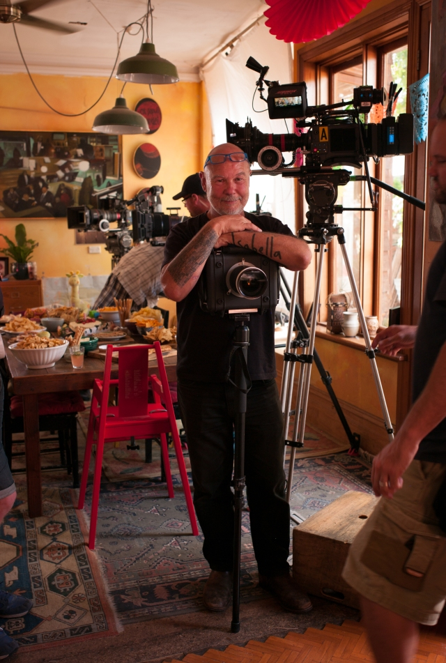 Mt Friend Giovanni Lovisetto, a stills photographer, taken o the set of Offspring.  Check out his Canon 5D MK2 in a customised pelican housing blimp used to silence the shutter